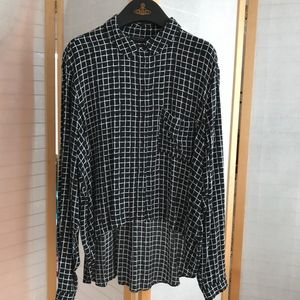Sz 12 TopShop high low blouse window pane print